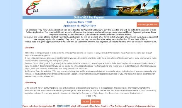 paso final para solicitud del visado para la India
