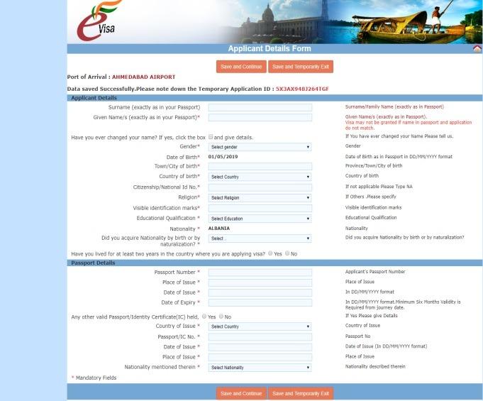 Paso 3 de la guía para solicitar el visado para India
