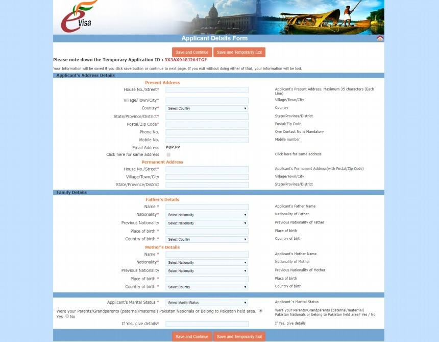 Paso 4 de la solicitud del visado para India