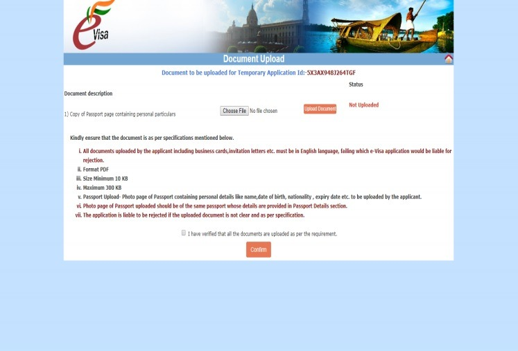 paso 8 para solicitud del e-visa India