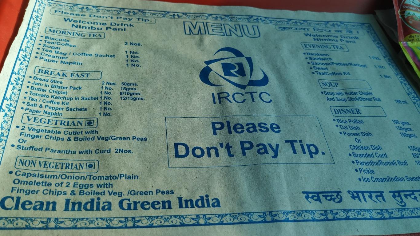 Menú de comida en los trenes de India (AC Chair Class)
